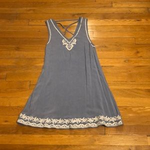 Chambray dress with cream floral embroidery